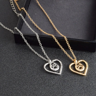 Love & Dog Paw Silver Necklace