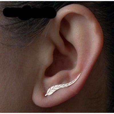 Vintage Gold Leaf Feather Stud Earrings