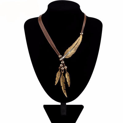 Necklace Feather Pendants Vintage  Rope Chain Necklace