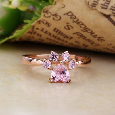 Adjustable Heart Paw Rose Gold Ring