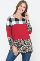 Plaid, Solid, & Leopard Print Colorblock Top