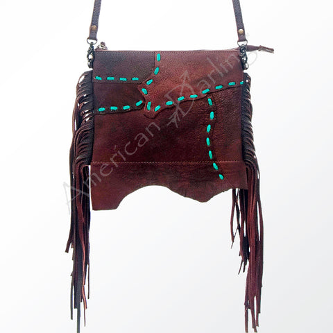 Patchwork Leather Laced Crossbody w/Fringe
