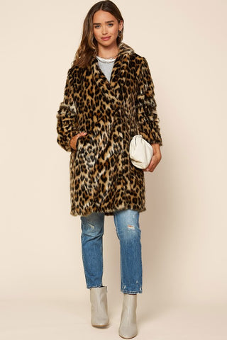Faux Leopard Print Long Coat