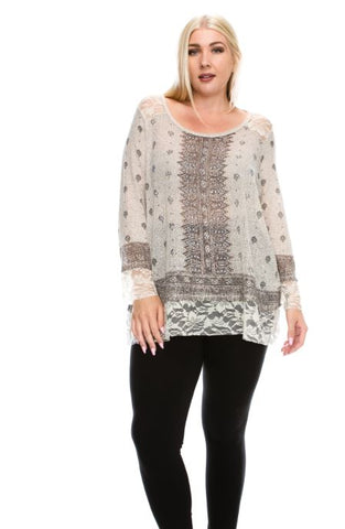 Plus Long Sleeve Top with Print and Stones