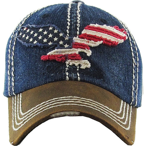 Eagle Silhouette With American Flag Ball Cap