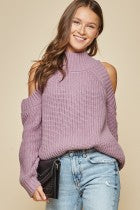Lavender Cold Shoulder Sweater