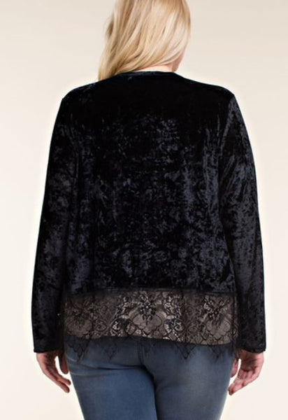 Plus Velvet Long Sleeve Cardigan