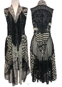 Black-White Patch Lace Vest