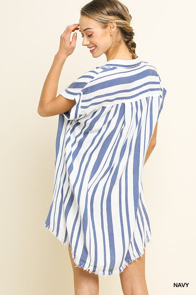 Blue Striped Collared Button Up Dress