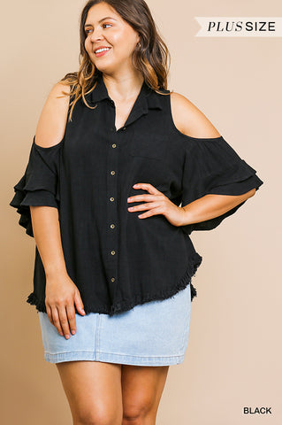 Black LAYERED RUFFLE SLEEVED TOP