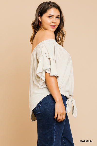 Oatmeal LAYERED RUFFLE SLEEVED TOP