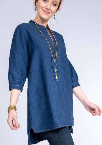 Denim V-Neck Tunic