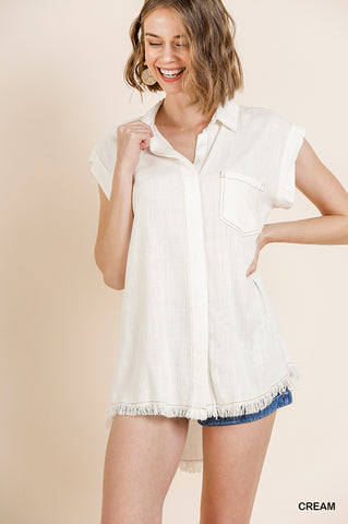 Umgee Ivory V-Neck Button Collared Top