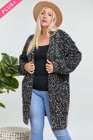 MARLED KNIT COZY OVERSIZED FUZZY LONG POCKET CARDIGAN