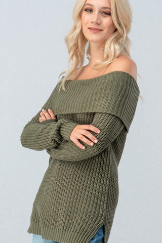 Chunky Off the Shoulder Sweater Tunic