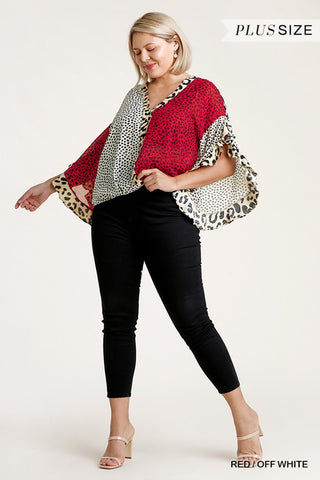 Multi-Animal Print Split Ruffled Sleeve Surplice Top ~Plus Size