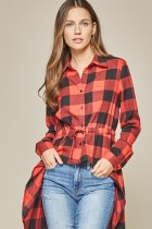 Red/Black Plaid High-Low Top