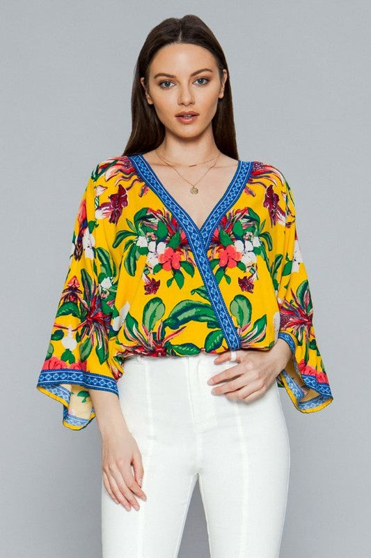 FLORAL SURPLICE TOP WITH KIMONO SLEEVES