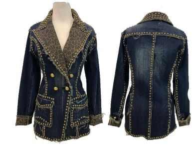 Leopard Denim Metal Studded Jacket