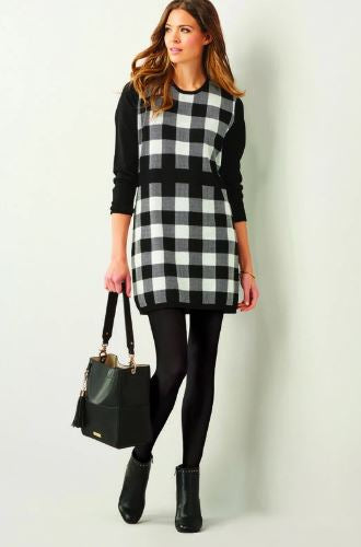 Bradshaw Sweater Dress in Black and White Check