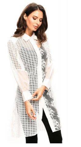 Sheer White Embroidered Button Down Duster