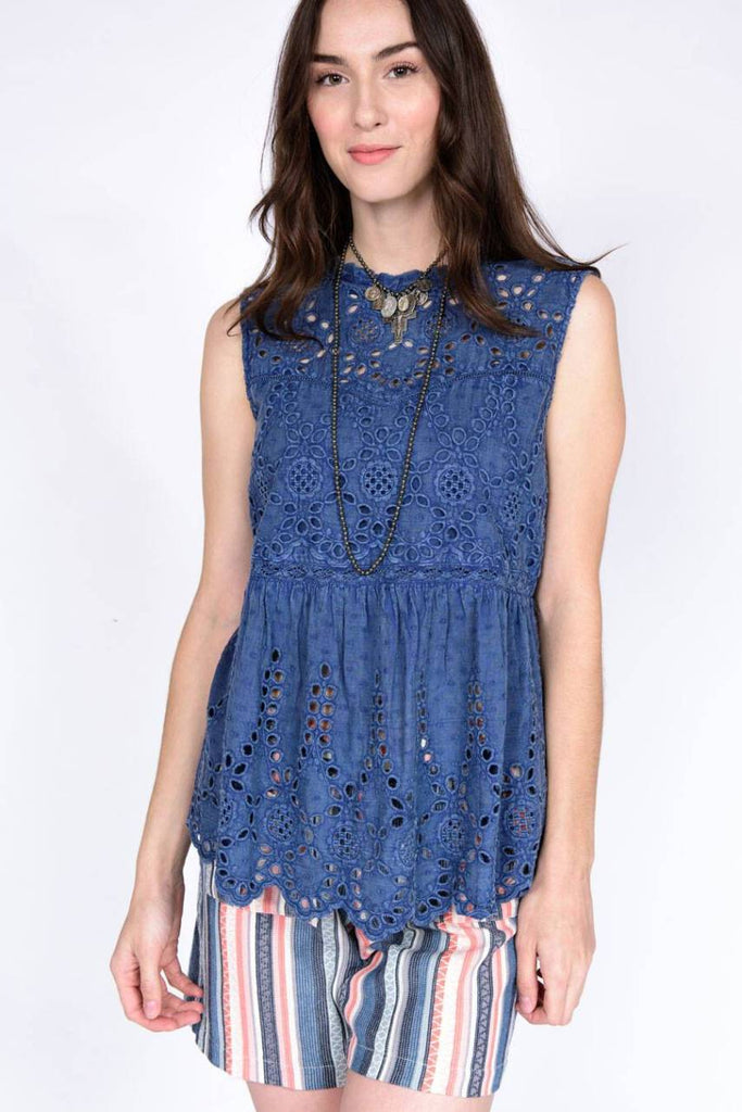 Ivy Jane Sleeveless Eyelet Top with Lace Insets