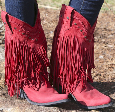 Liberty Black Red Fringe Boots
