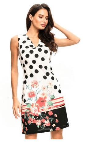 Polka Dot/Floral Sleeveless Dress