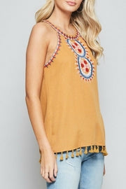 Marigold Embroidered Halter Tank