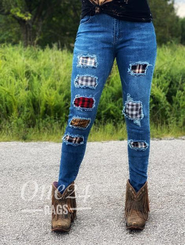 Plaid Patch Denim Jeans