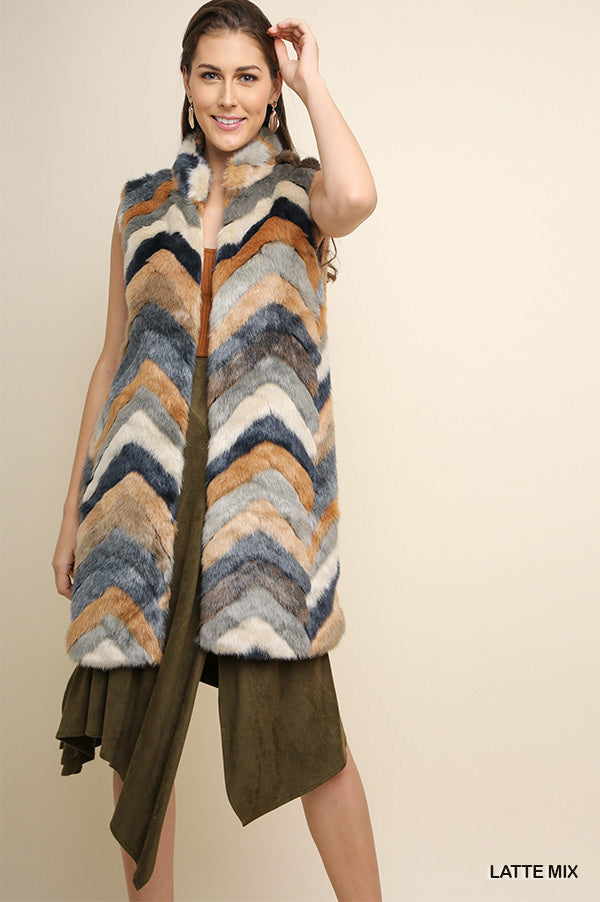 Umgee Multicolor Chevron Furry Vest