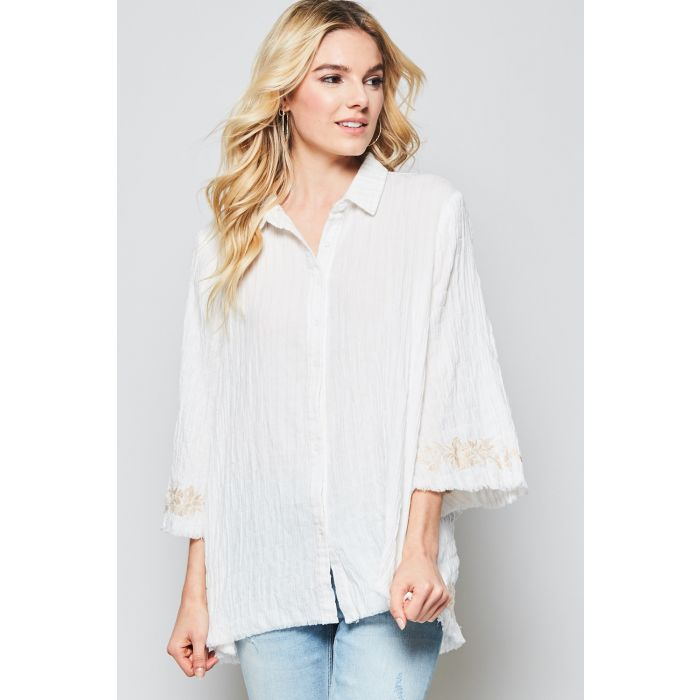 IVORY FRAYED COTTON BUTTON UP TOP
