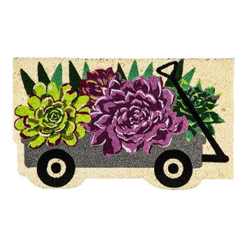 Galvanized Wagon with Succulents Door Mat