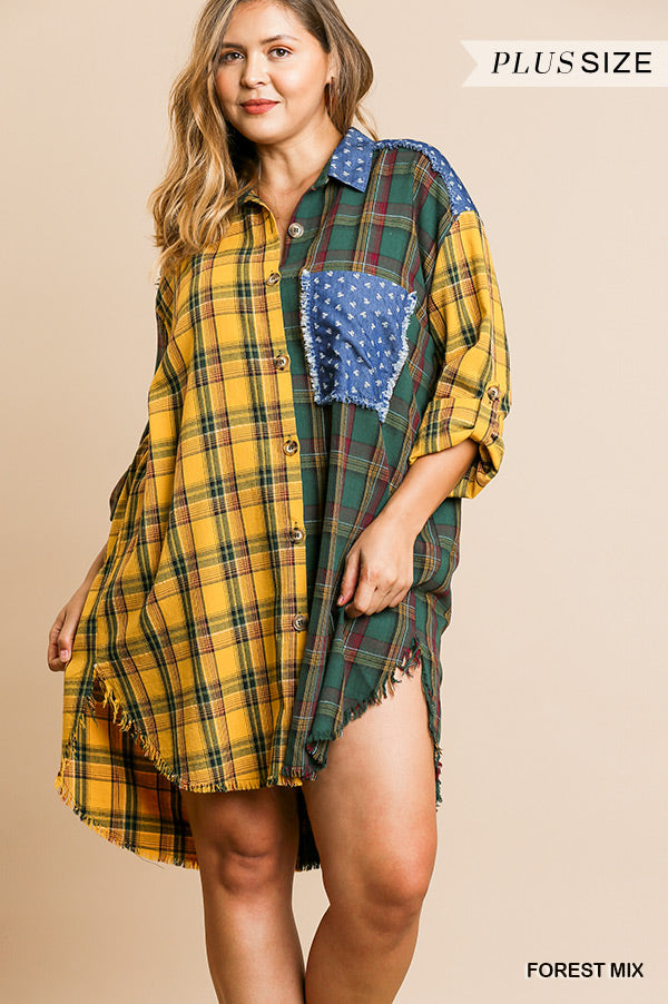 Umgee Plaid Mixed Long Dress