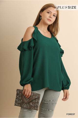 Puff Sleeve Top with Open Ruffled Shoulders