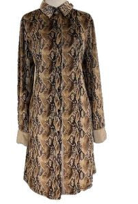 Snake Print L/S Button Dress