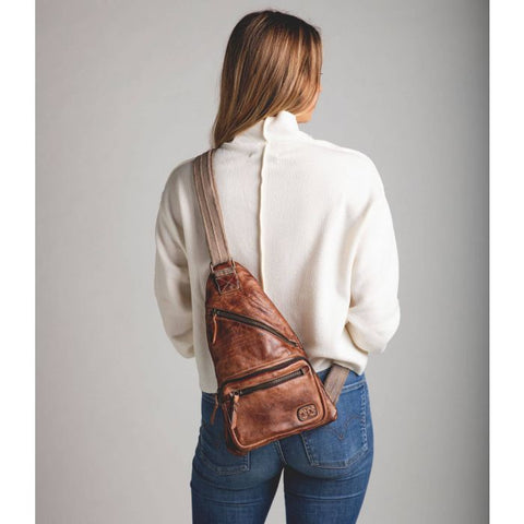 BedStu Andie Tan Rustic Sling Backpack