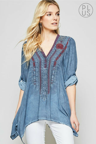 Floral Denim Button Front Blouse