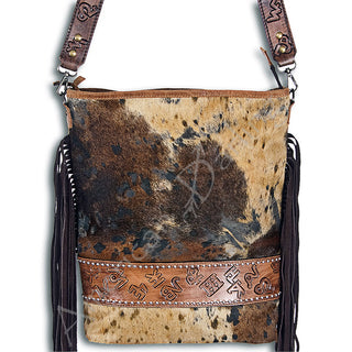 Brown Acid Wash Leather Purse w/ Fringe