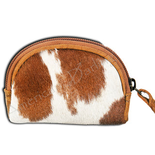 Brown/White Hair on Hide Leather Coin Purse