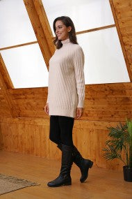 Textured Lines Soft Knit Roll Neck Tunic Sweater
