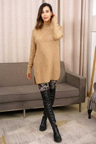Honeycomb Texture Front & Sleeves Soft Knit Tunic Sweater