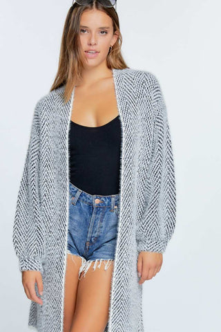 SOLID LONG SLEEVE LONG CARDIGAN