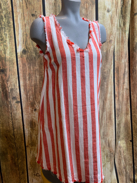Red Stripe Linen Dress
