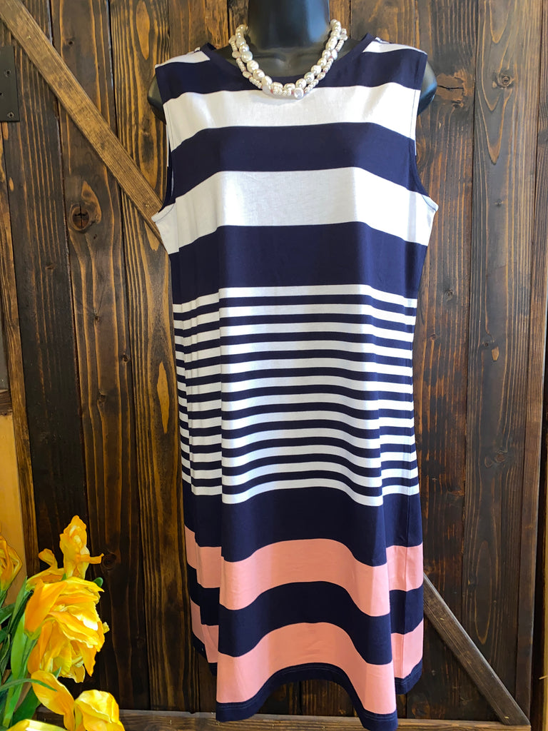 Navy White and Coral Striped Dress