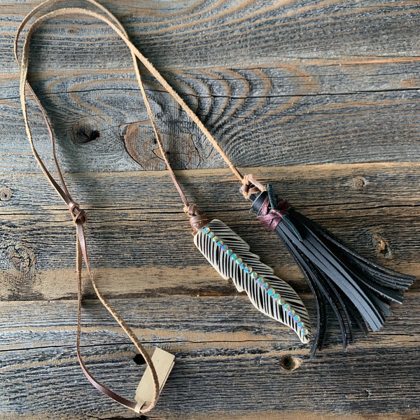 Feather Bone Necklace w/Tassel