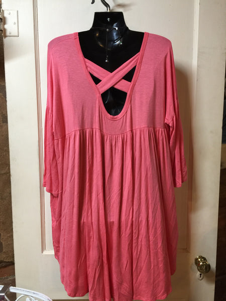 Coral High Low Tunic -Plus