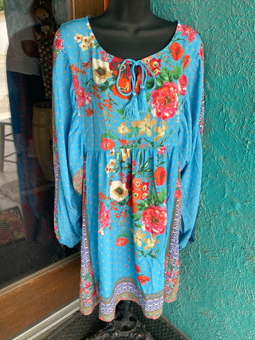 Turquoise Floral Dress -Plus