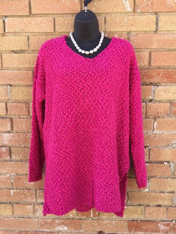 Hot pink popcorn sweater by Umgee