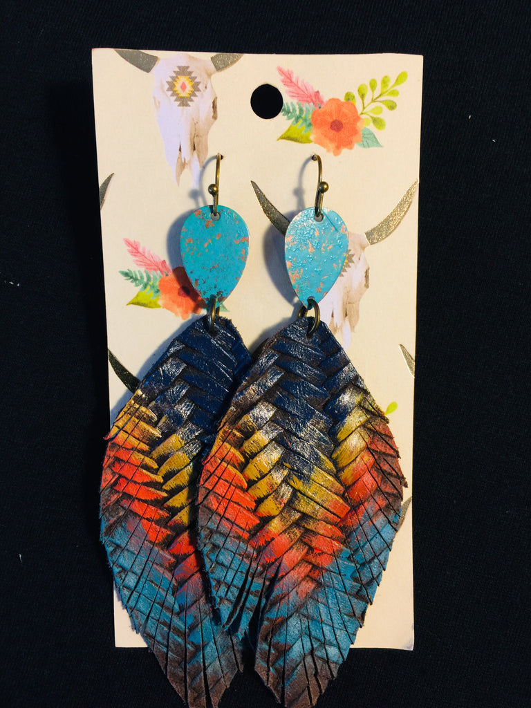Feather Leather Earrings